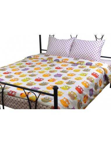 Полуторное постельное белье Руно Совы, 50х70 (2шт) см