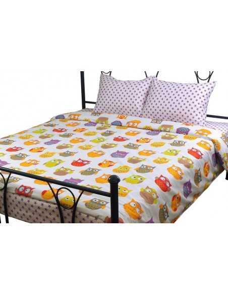 Двуспальное постельное белье Руно Совы, 70х70 (2шт) см