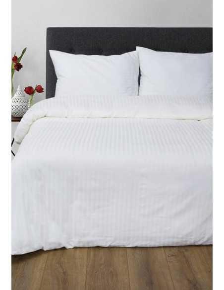 Полуторное постельное белье Lotus Отель Страйп белый 1х1