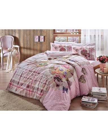 Полуторное постельное белье TAC Livia V02 Розовый