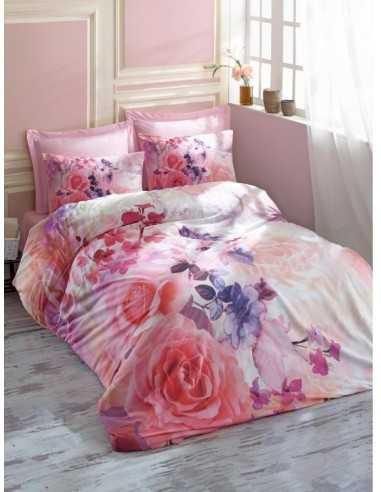 Двуспальное постельное белье Cotton Box 3D Roselove Pembe