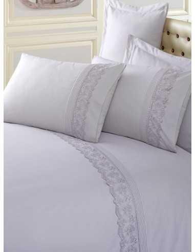 Двуспальное постельное белье Cotton Box Gri с вышивкой