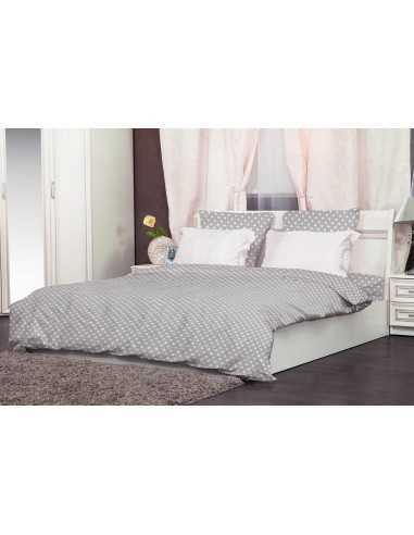 Двуспальное постельное белье Zastelli 49 Белые звезды на сером