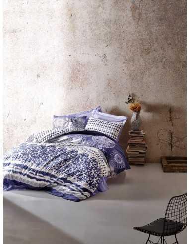 Постельное белье евро Cotton Box Lucca Mavi Fusya