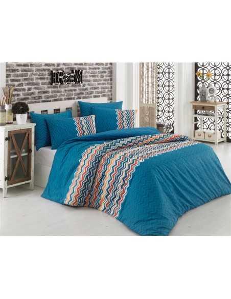 Постельное белье евро Cotton Box Essentiel Blue