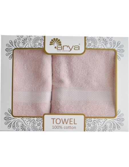 Набір рушників Arya Sabino 50х90-70х140 см, рожевий