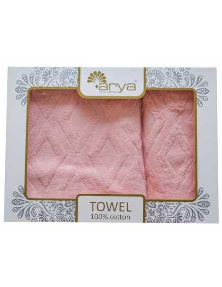 Набір рушників Arya Duma 50х90-70х140 см, рожевий
