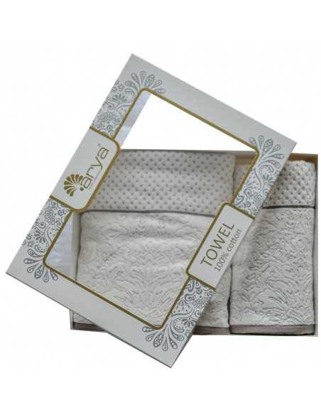 Набір рушників Arya Cedro 50х90-70х140 см, экрю