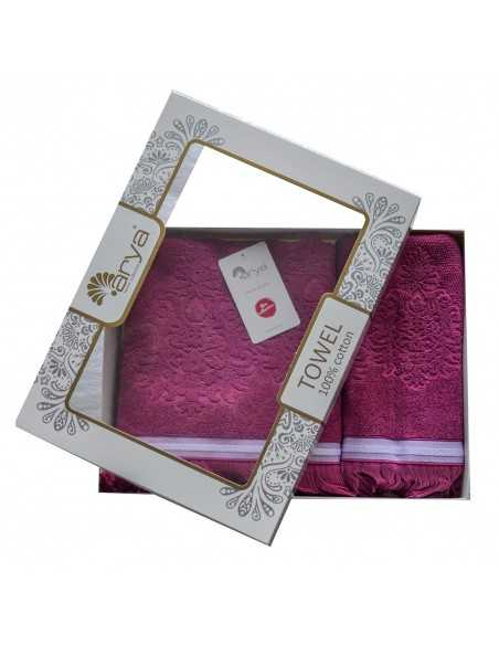 Набір рушників Arya Demor 50х90-70х140 см, пурпурний