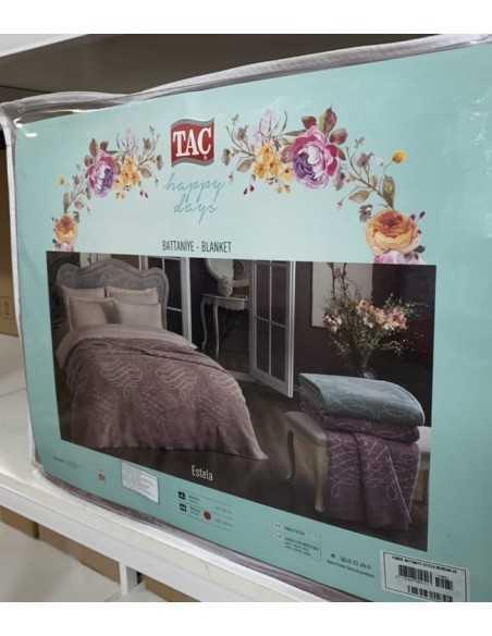Плед Tac Cotton Battaniye Estela Фиолетовый, 200х220 см